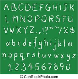 手書き, 白, チョーク, 壷, 上に, 緑, 黒板