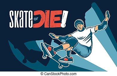 手有色人種, 引かれる, イラスト, skateboarding