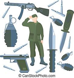 手榴弾, ナイフ, 武器, 銃弾, 隔離された, セット, 武器, 兵士