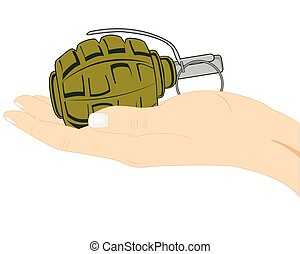手榴弾, 中に, 手