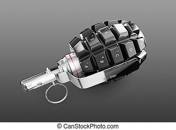 手榴弾, 隔離された, イラスト, 背景, 黒, キーボード, 3d