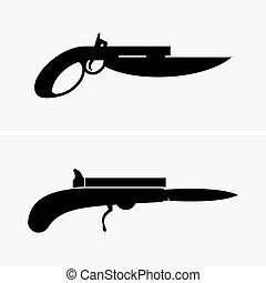 手槍, 刀子