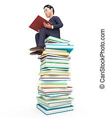 手段, コマーシャル, 教科書, 本, 勉強, ビジネスマン, 読書