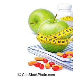 手段 テープ, りんご, 緑, ビタミン