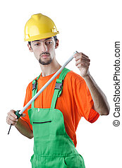 手段 テープ, 白, 労働者