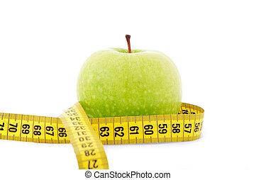 手段 テープ, 緑のリンゴ, 黄色