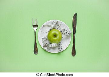 手段 テープ, concept., 食事, 背景, アップル, プレート, fork., 食べること, weightloss., 健康, ナイフ, 上, 緑, 光景