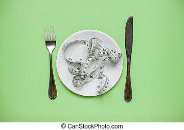 手段 テープ, concept., 食事, 背景, プレート, fork., 食べること, weightloss., 健康, ナイフ, 上, 緑, 光景