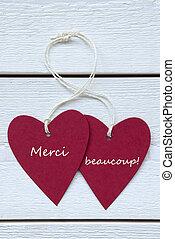 手段, ラベル, beaucoup, merci, 心, 2, フランス語, ありがとう, vert