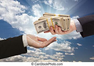 ∥手渡す∥, 雲, 上に, 空, 現金, 劇的