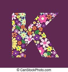 手紙, の, 美しい, 花, k