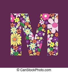 手紙, の, 美しい, 花, m