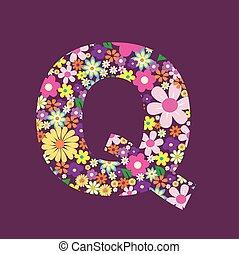 手紙, の, 美しい, 花, q
