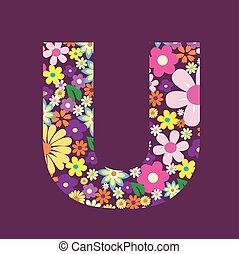 手紙, の, 美しい, 花, u