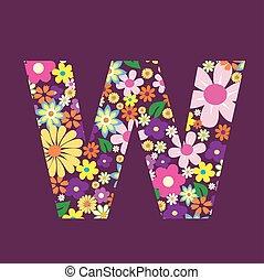 手紙, の, 美しい, 花, w