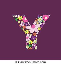 手紙, の, 美しい, 花, y