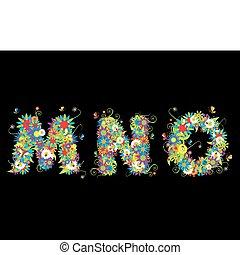 手紙, また, 見なさい、, alfabet, 花, 私, ギャラリー, design.