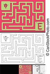手紙, -, アルファベット, 迷路, 容易である, e