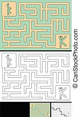 手紙, -, アルファベット, 迷路, 容易である, k