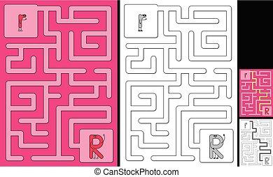 手紙, -, アルファベット, 迷路, 容易である, r
