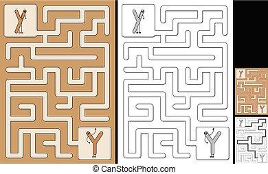 手紙, -, アルファベット, 迷路, 容易である, y