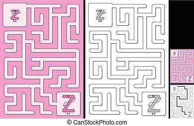 手紙, -, アルファベット, 迷路, 容易である, z