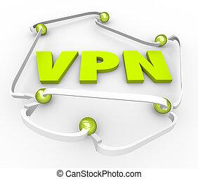手紙, ネットワーク, 3d, 私用, 接続される, 事実上, インターネット, vpn, 安全である