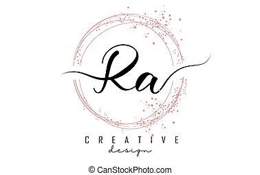手紙, ピンク, ロゴ, ra, r, 円, glitter., 手書き, 光っていること