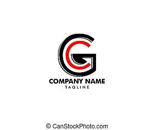 手紙, ベクトル, ロゴ, 頭文字, gc, 概念