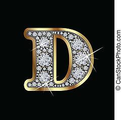 手紙, ベクトル, d, 金, ダイヤモンド
