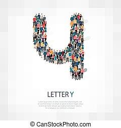 手紙, 人々, ベクトル, y, グループ, 形