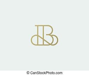 手紙, 創造的, ベクトル, 優雅である, logotype., b, 優れた, ロゴ, design., 線, 贅沢, 線である, monogram., カーブ