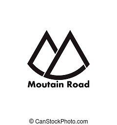 手紙, 単純である, m, ロゴ, ベクトル, 道, 幾何学的, 山