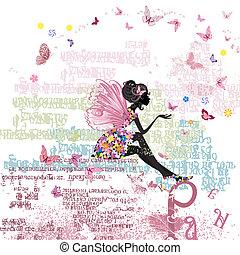 手紙, 妖精, グランジ, 背景