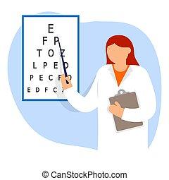 手紙, 指すこと, 眼科医, チャート, oculist