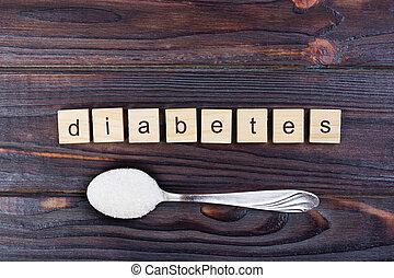 手紙, 木製である, 砂糖, スプーン, 山, ブロック, 糖尿病