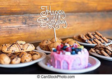 手紙, 木製である, sweets., 挨拶, 印, 無作法, バックグラウンド。, birthday, マフィン, ケーキ, 歌いなさい, 休日, 幸せ