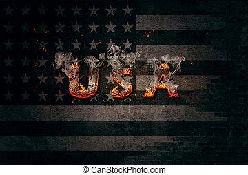 手紙, 火, 旗, 私達, 壁, depicted, 背景, アメリカ人