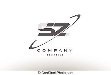 手紙, 灰色, z, ロゴ, s, アルファベット, swoosh, sz