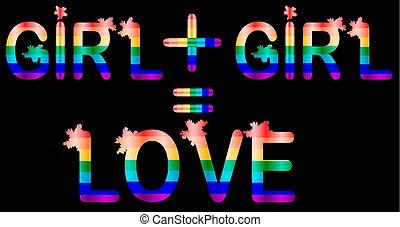 手紙, 碑文, 虹, プラス, 概念, lgtb, 女の子, -
