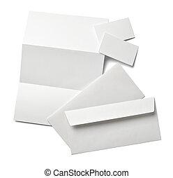 手紙, 紙カード, ブランク, テンプレート, 白, リーフレット, ビジネス