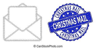 手紙, 開いた, ラウンド, モザイク, クリスマス, recursion, アイコン, 切手, メール, グランジ, シール
