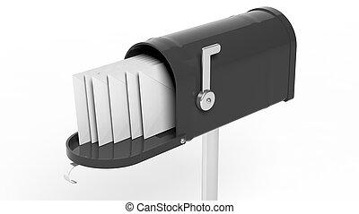 手紙, 隔離された, メールボックス, 黒い背景, 白