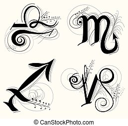 手紙, capricorn, 天秤座, 黄道帯, sagittarius, ∥あるいは∥, デザイン, シンボル, クラシック, 星占い, scorpio