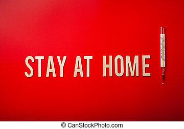 手紙, coronavirus, 木製である, 家, テキスト, 背景, 滞在, 赤, 単語, covid-19