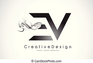手紙, ev, ロゴ, デザイン, 黒, smoke.