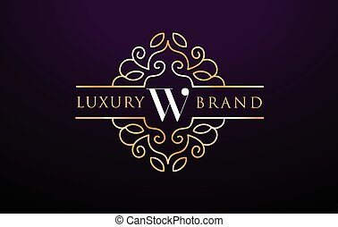 手紙, luxury., ロゴ, デザイン, w, monogram, 皇族