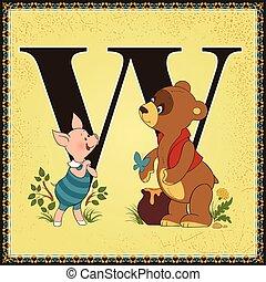 手紙, miln, 本, アレキサンダー, alphabet., w., 漫画, fairytale, winnie-the-pooh, アラン, 子供