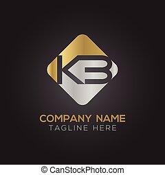 手紙, template., ベクトル, アルファベット, ロゴ, デザイン, 頭文字, kb, つながれる, 抽象的