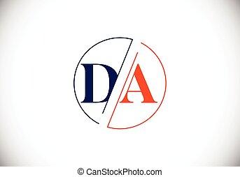 手紙, template., ベクトル, ロゴ, デザイン, 頭文字, da, monogram